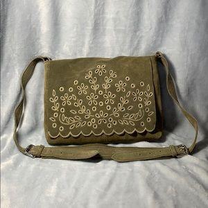 Zara crossbody bag, suede olive green